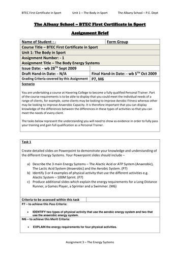 The Body in Sport - Unit 1 Assignments