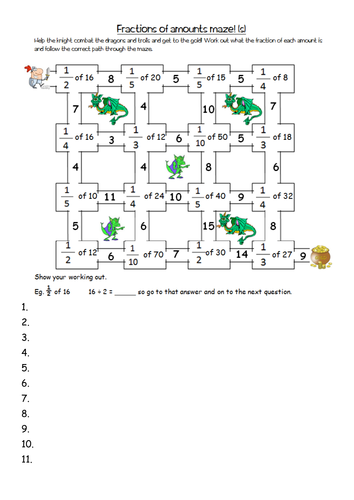 finding fractions of amounts maze worksheets yr4 by clangercrazy ...
