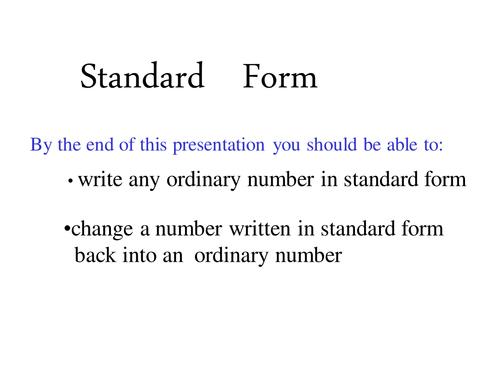 Writing Numbers In Standard Form By Helenatromsey Teaching