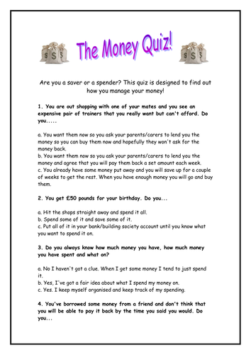 Managing Your Money quiz, Maths Starter