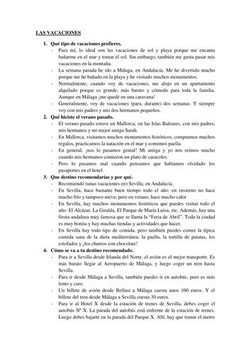 Spanish Holidays questions - Las vacaciones