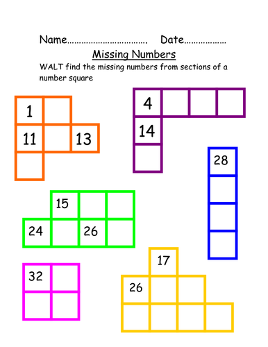Missing Numbers From Number Square By Beckyelmer1984 Teaching