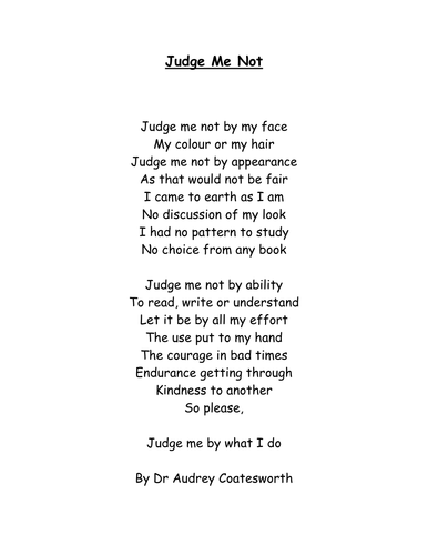 Judge me not - Poem and Worksheets: Resource