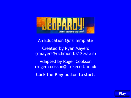 Jeopardy - revision game for speed and velocity