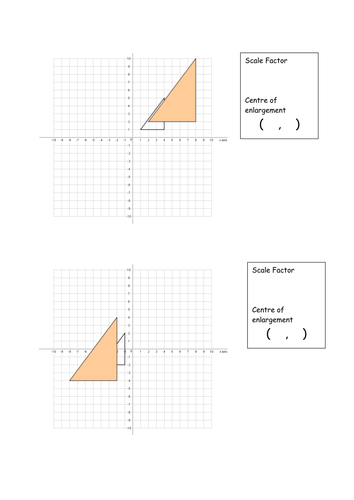 Finding the centre of enlargement worksheets by