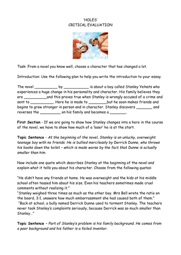holes critical essay plan by claire teaching resources tes