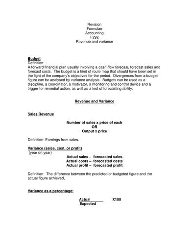 F292 Business Studies Formula Revision