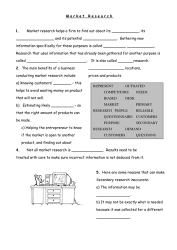 AQA GCSE Marketing - Fill in the Blank Worksheet