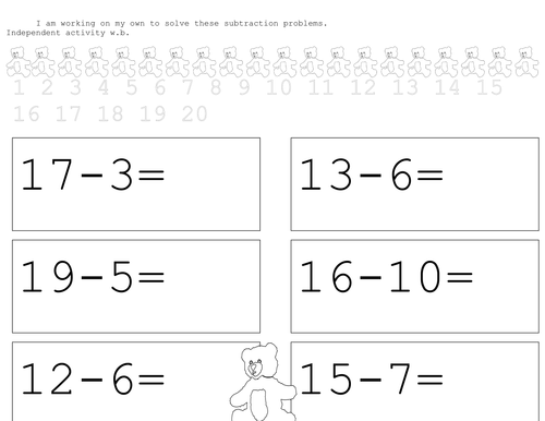 teddy take aways subtraction worksheets by stebba teaching resources. Black Bedroom Furniture Sets. Home Design Ideas