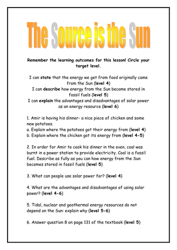 the sun as energy source worksheet by rhianrebecca | Teaching Resources