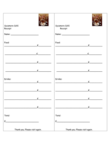 receipt template for role play cafe by rehat teaching resources tes