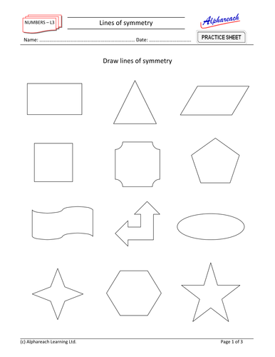 Drawing Lines Of Symmetry Worksheets : Maths lines of symmetry by areach teaching resources tes