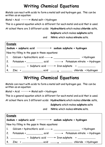 Acid plus metal word equations