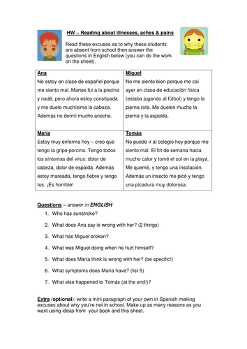 Spanish Illnesses reading task