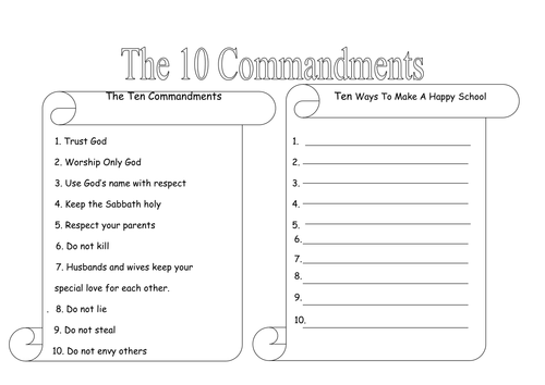{10 Commandments by rhian18 Teaching Resources Tes – Ten Commandments Worksheets
