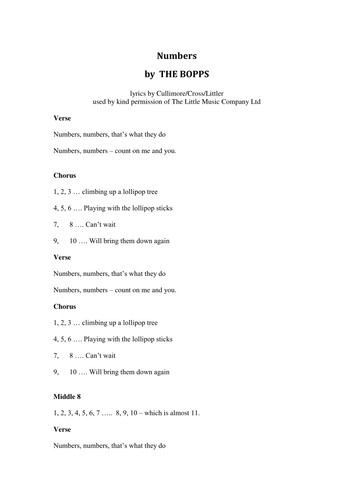 Song for teaching counting