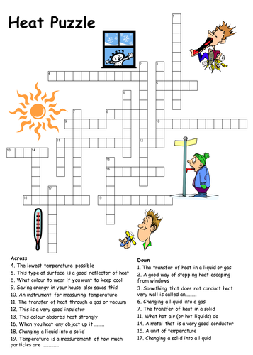 Heat Transfer Crossword Puzzle By Physics Teacher