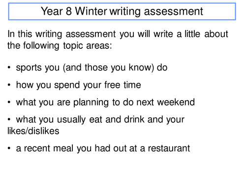 Y8 Winter writing assessment - healthy lifestyles
