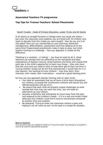 Teachers TV: Tips for Trainee Teachers - Placements