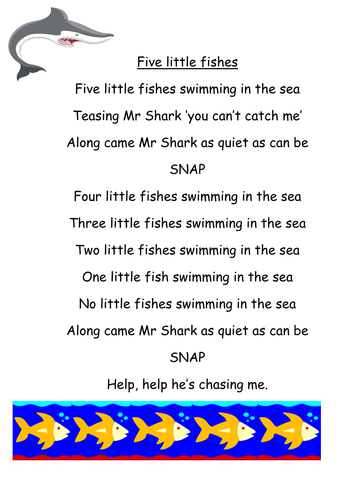 Five little fishes swimming in the sea by yjdj teaching for Funny fishing songs