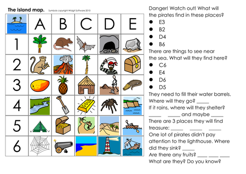 Pirate vocabulary, games, worksheets, story, grid