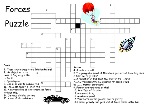 Forces Crossword Puzzle 6047140 on School Work Sheets
