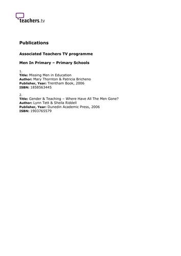 Teachers TV: Men In Primary - Primary Schools