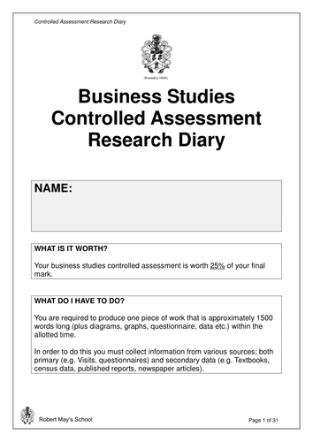 GCSE Business Studies controlled assessment (AQA)