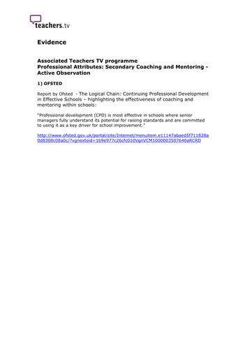 Teachers TV:  Coaching and Mentoring