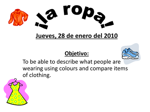 Spanish Clothes Colour Amp Comparison Agreements By