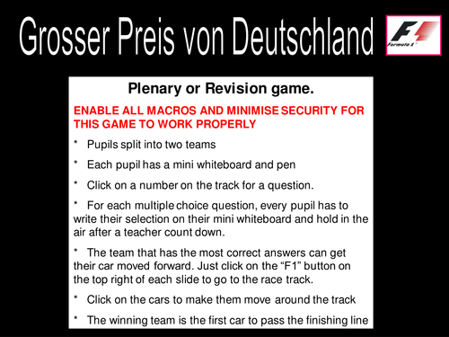 German Grand Prix Game Starter Plenary Revision