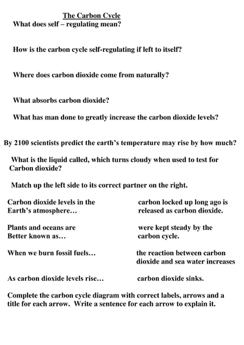 Carbon Cycle Worksheet Questions Match Up Activity By