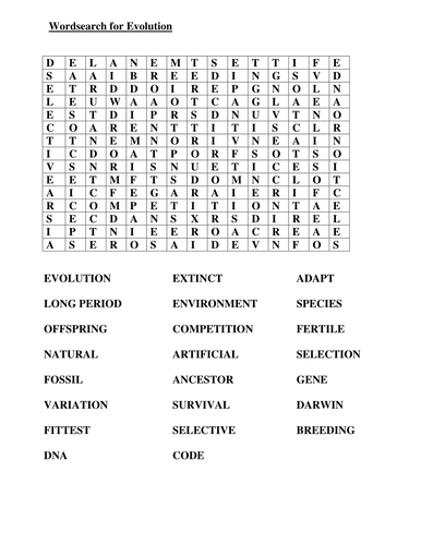 wordsearch for keywords connected to evolution by goldson1