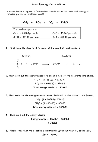 Bond Energy By Chemistryteacher Teaching Resources Tes