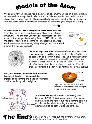 Models Of The Atom By Chemistry Teacher Teaching Resources