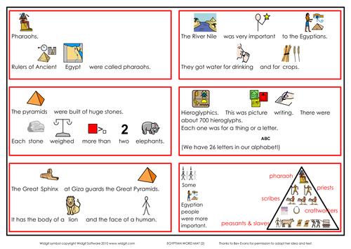 Ancient Egypt info, word mats, games (Widgit CIP)