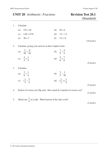 Fractions MEP  Year 7  Unit 20 by CIMT  Teaching Resources  Tes