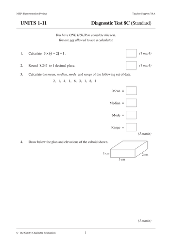 Assement Papers For Year 8 In Maths By Kesi06 Teaching Resources