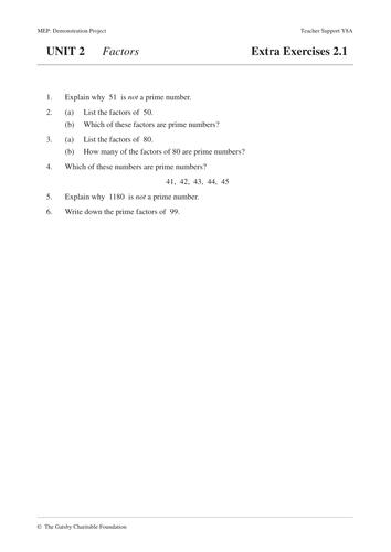 KS3 Factors MEP  Year 8  Unit 2 by CIMT  Teaching Resources  Tes