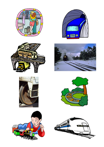 Trains: picture book, games cards, ideas