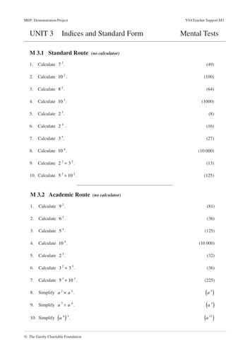 standard form ks3 worksheet  KS5 Indices & Standard Form (MEP– Year 5 – Unit 5)