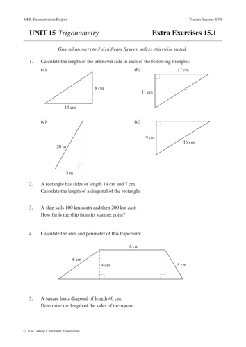 trigonometry mep unit 15 year 9 worksheets by cimt teaching resources. Black Bedroom Furniture Sets. Home Design Ideas