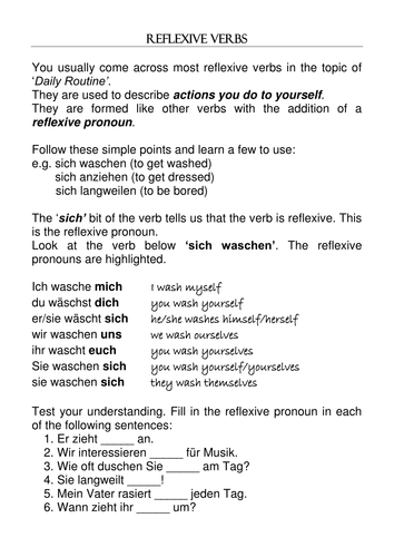 Reflexive Verb Note Exercises By Combertonvillagecollege