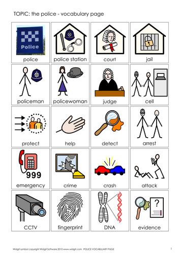 Police vocab, games and quiz (Widgit CIP)