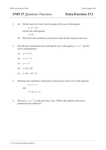 Quadratic Functions (MEP – Year 9 – Unit 17)