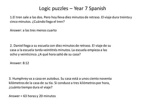 Maths Logic Puzzles - Y7 Spanish
