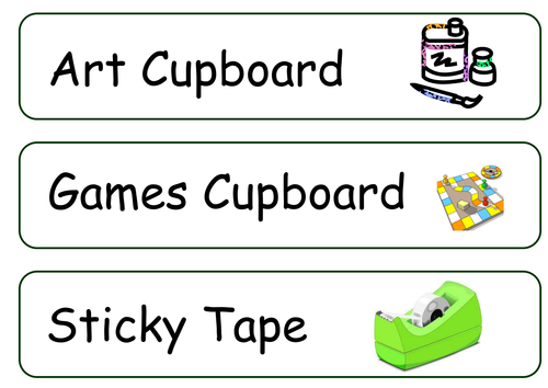 Illustrated classroom drawer labels