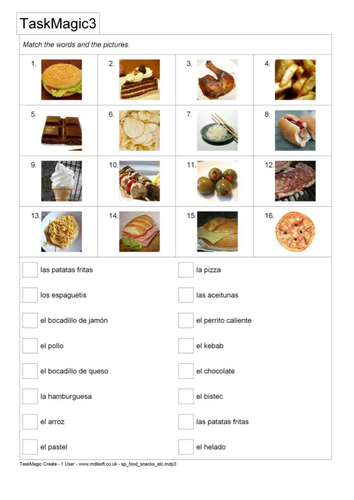 Spanish - la comida - matching pics and text by mlapworth | Teaching ...