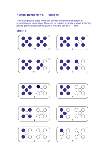 Number bonds - activities and cards