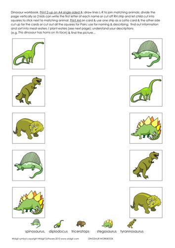 Dinosaur activity book with Widgit symbols
